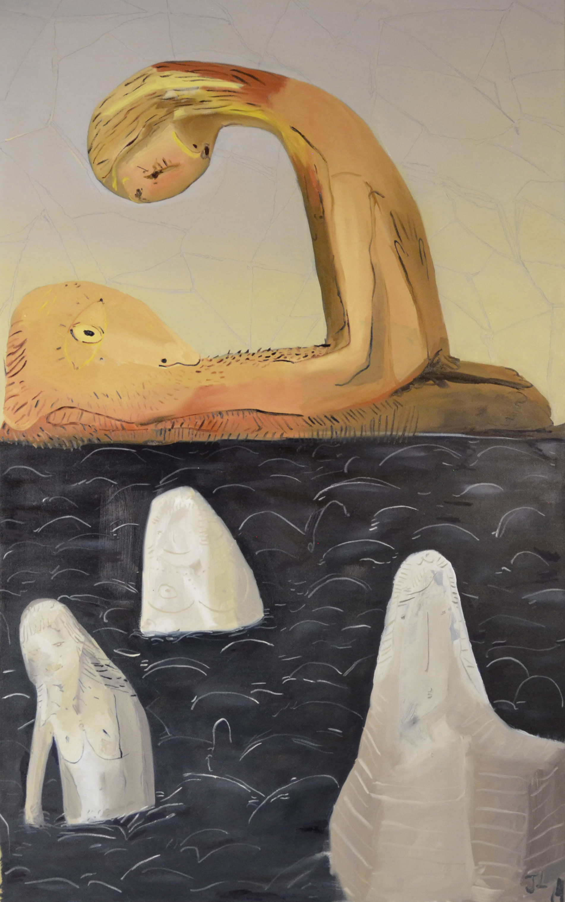 Three Stone Guardians, oil on canvas, 60x96.