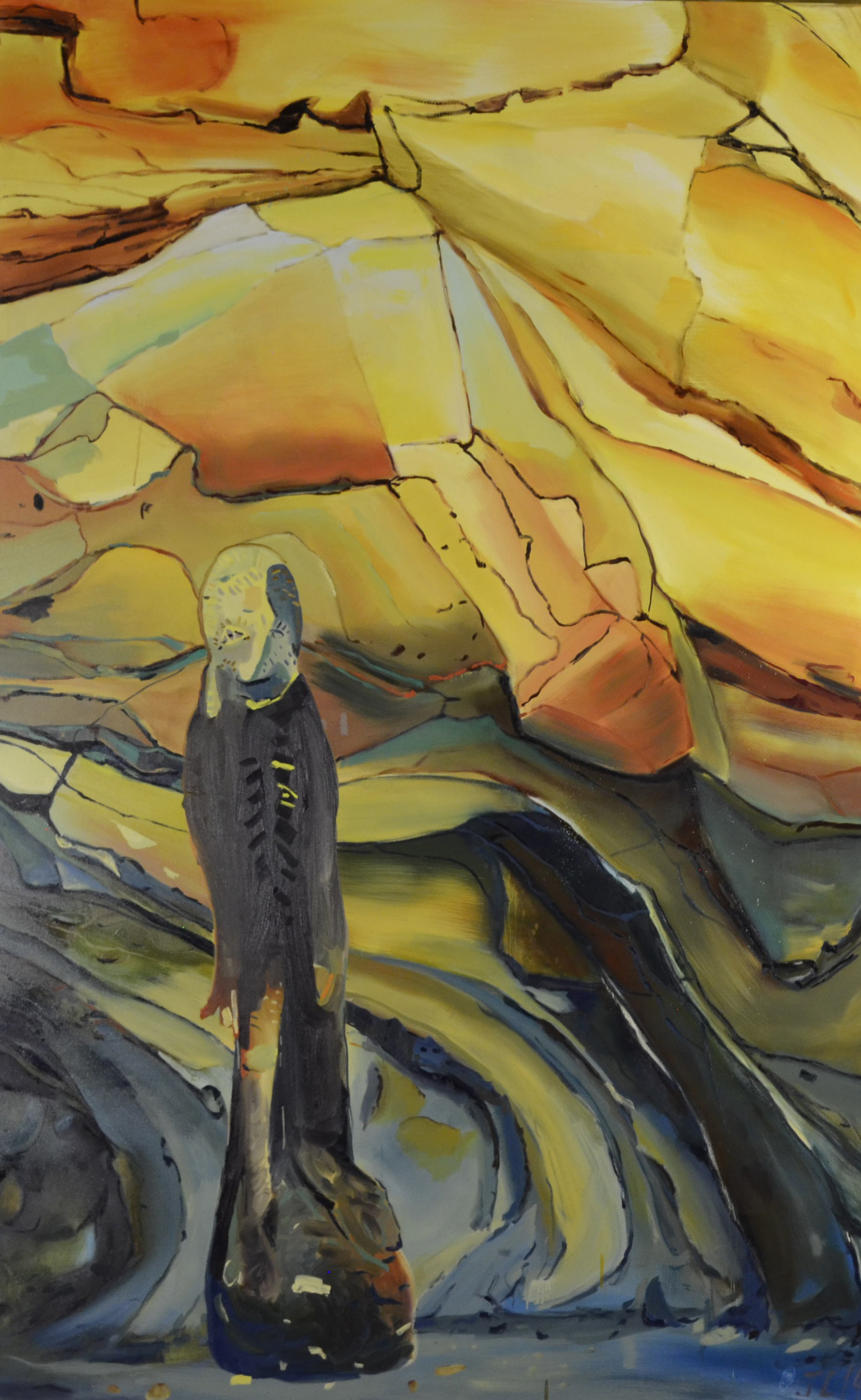 Figure in a Cave, oil on canvas, 60x96 inches.