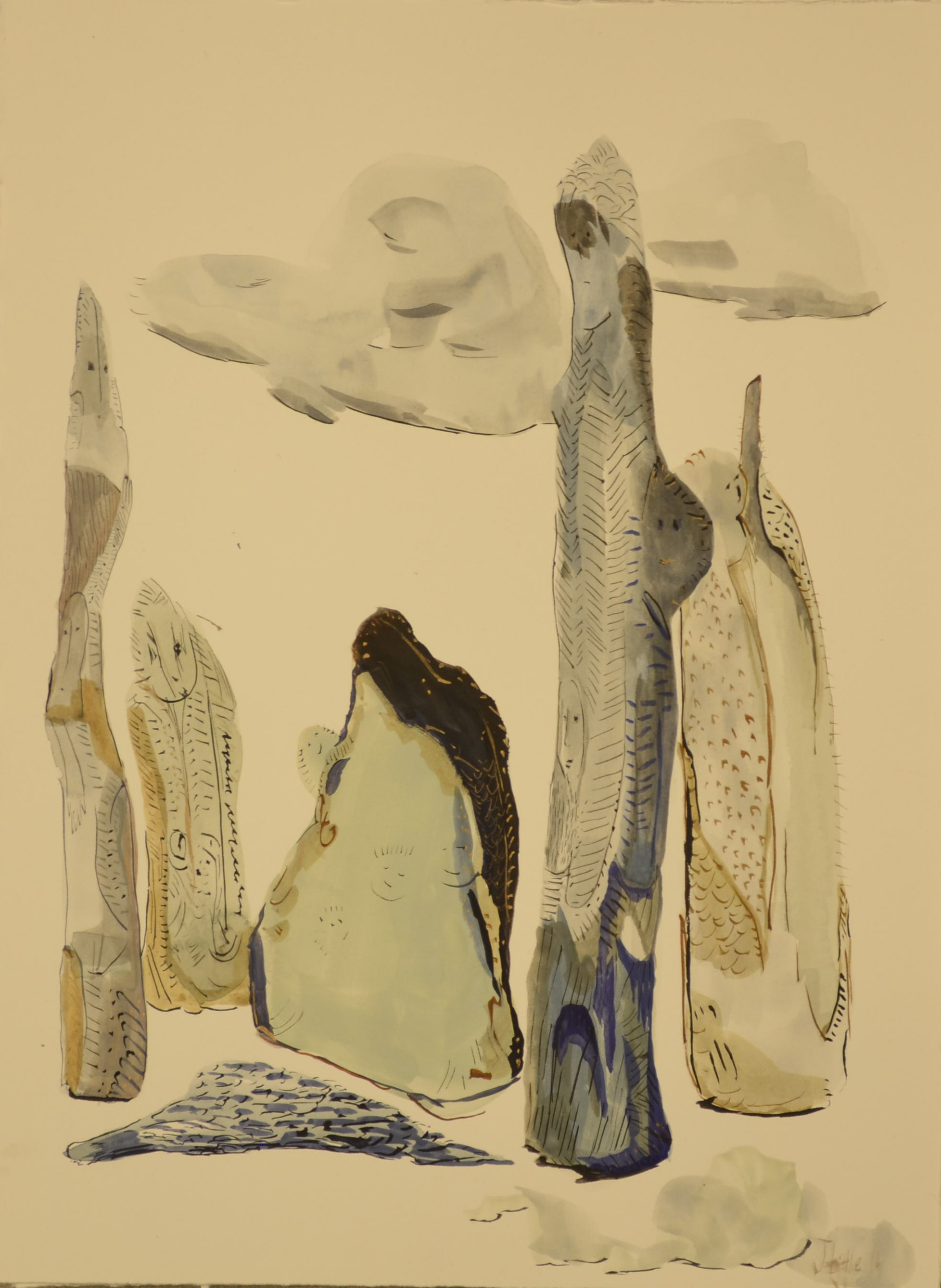 Blue Objects, 11 x 15 inches, watercolor on paper,2014.