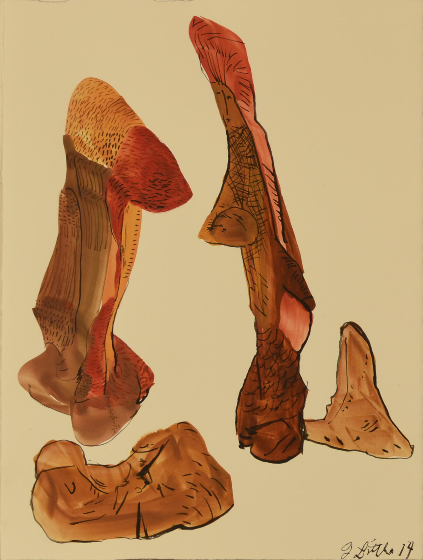 Four Red Figures,11 x 15 inches, watercolor on paper,2014.