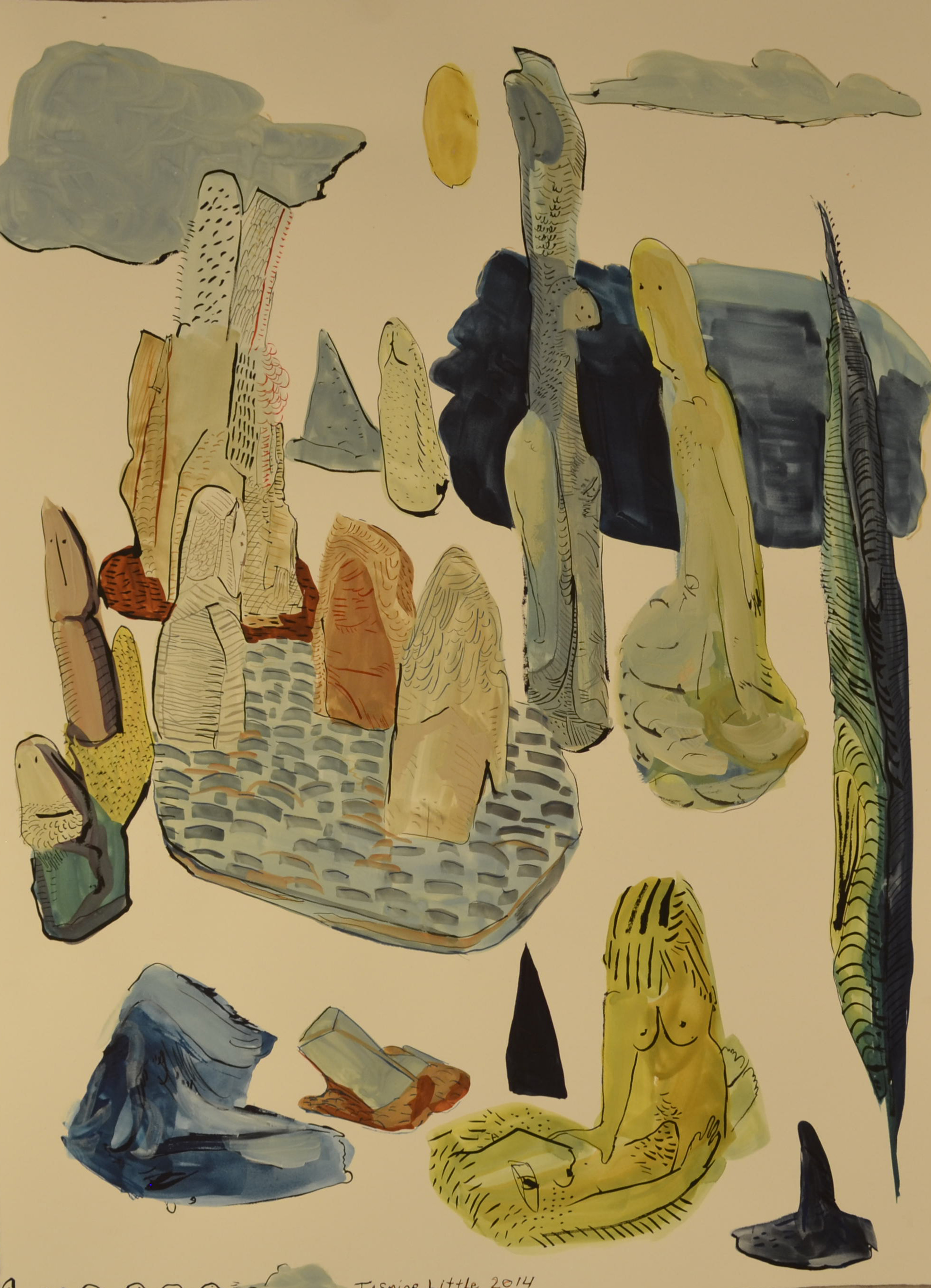 Blue Object Still Life,22 x 30 inches,watercolor on paper,2014.