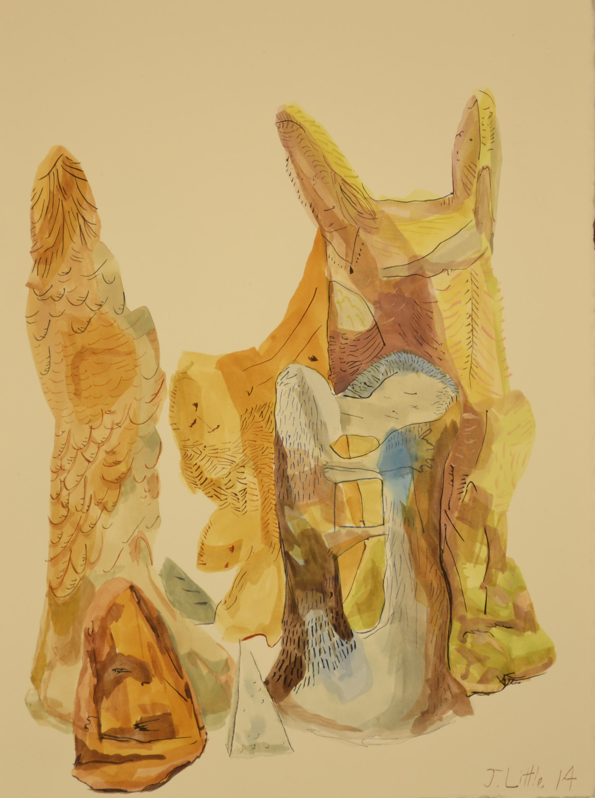 Orange Figure Cluster,11 x 15 inches, watercolor on paper,2014.
