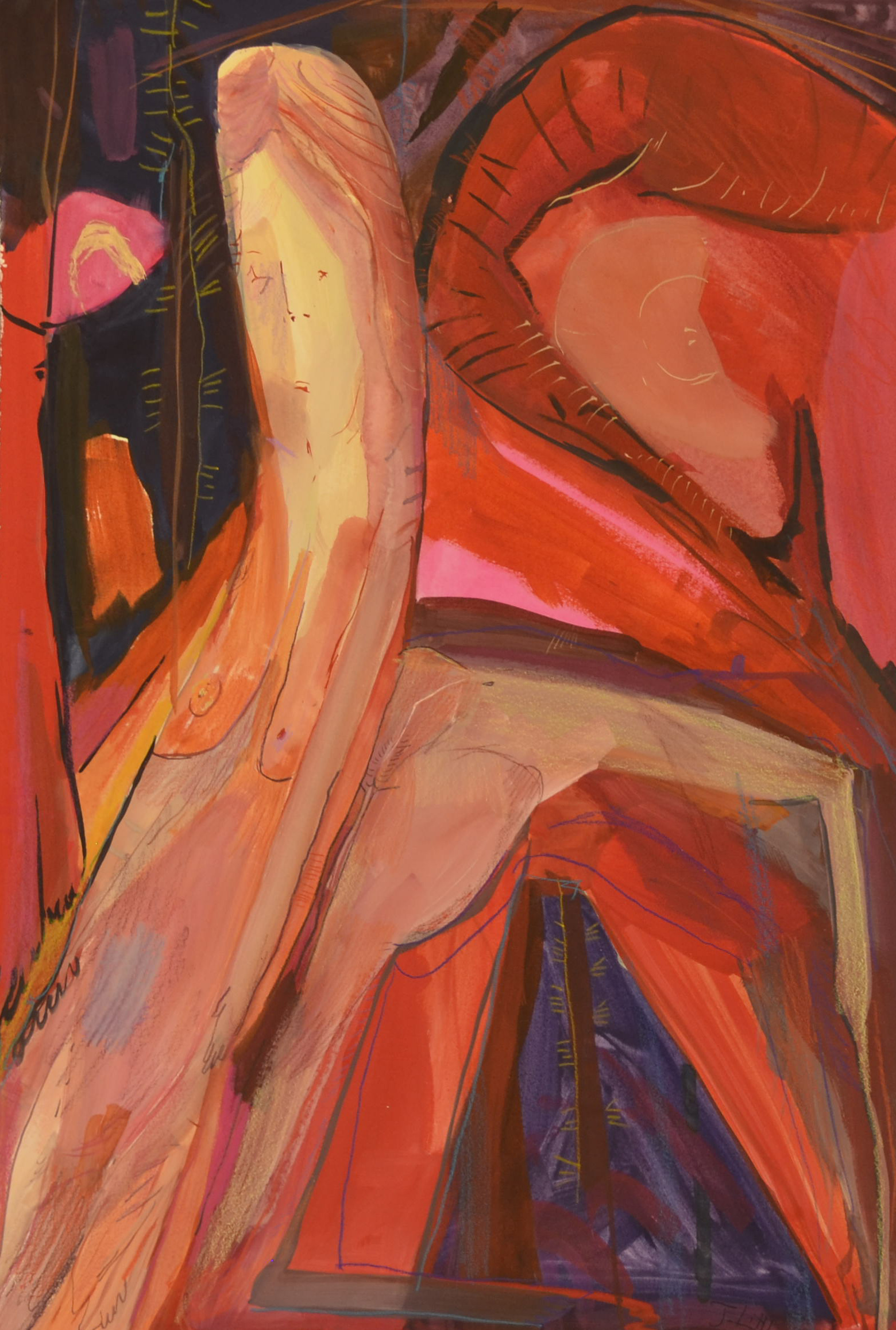 Red Figure,15 x 22 inches, watercolor and colored pencil on paper,2014.
