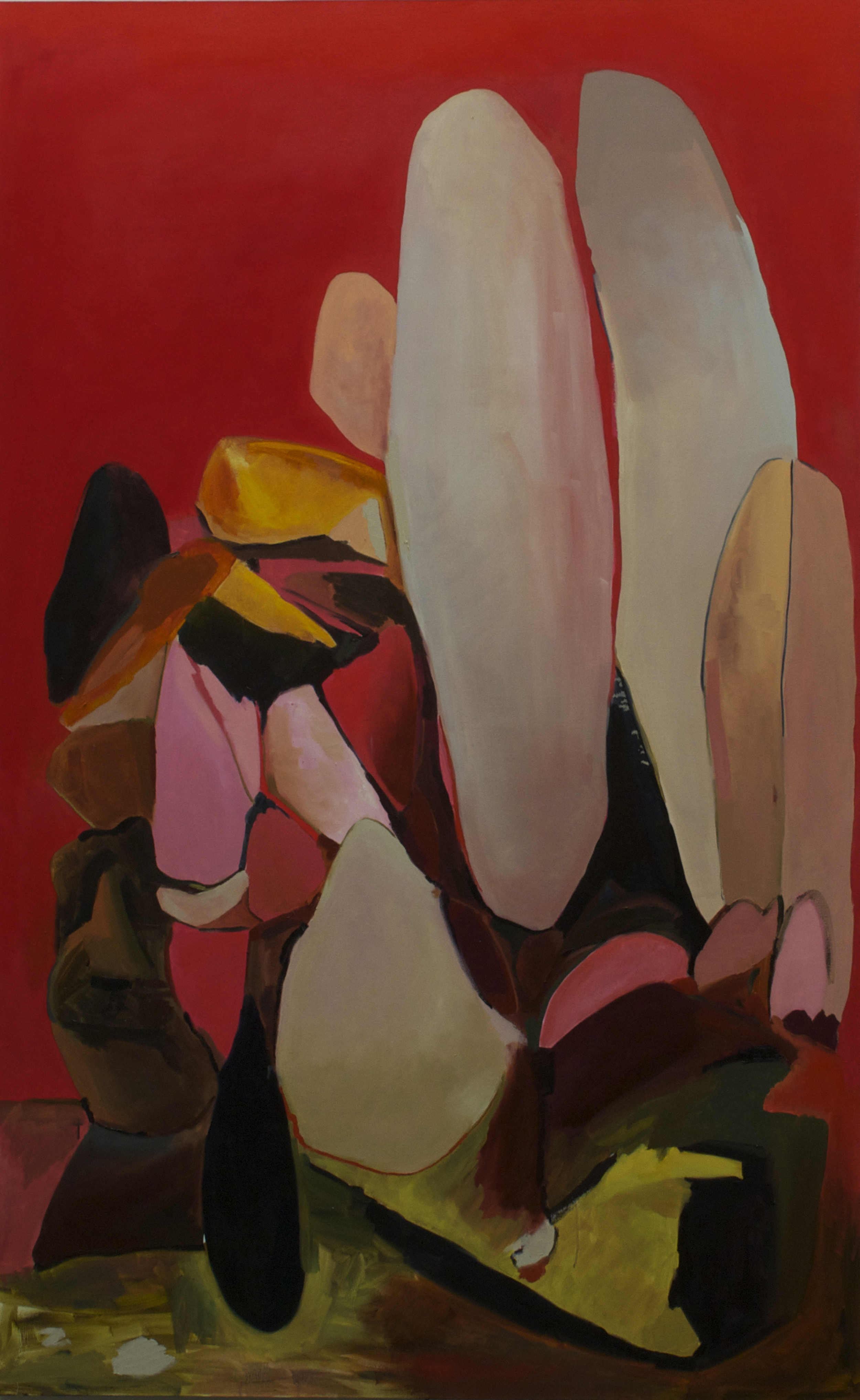 Jumbo Rocks(Red), oil on canvas, 60x95 inches.
