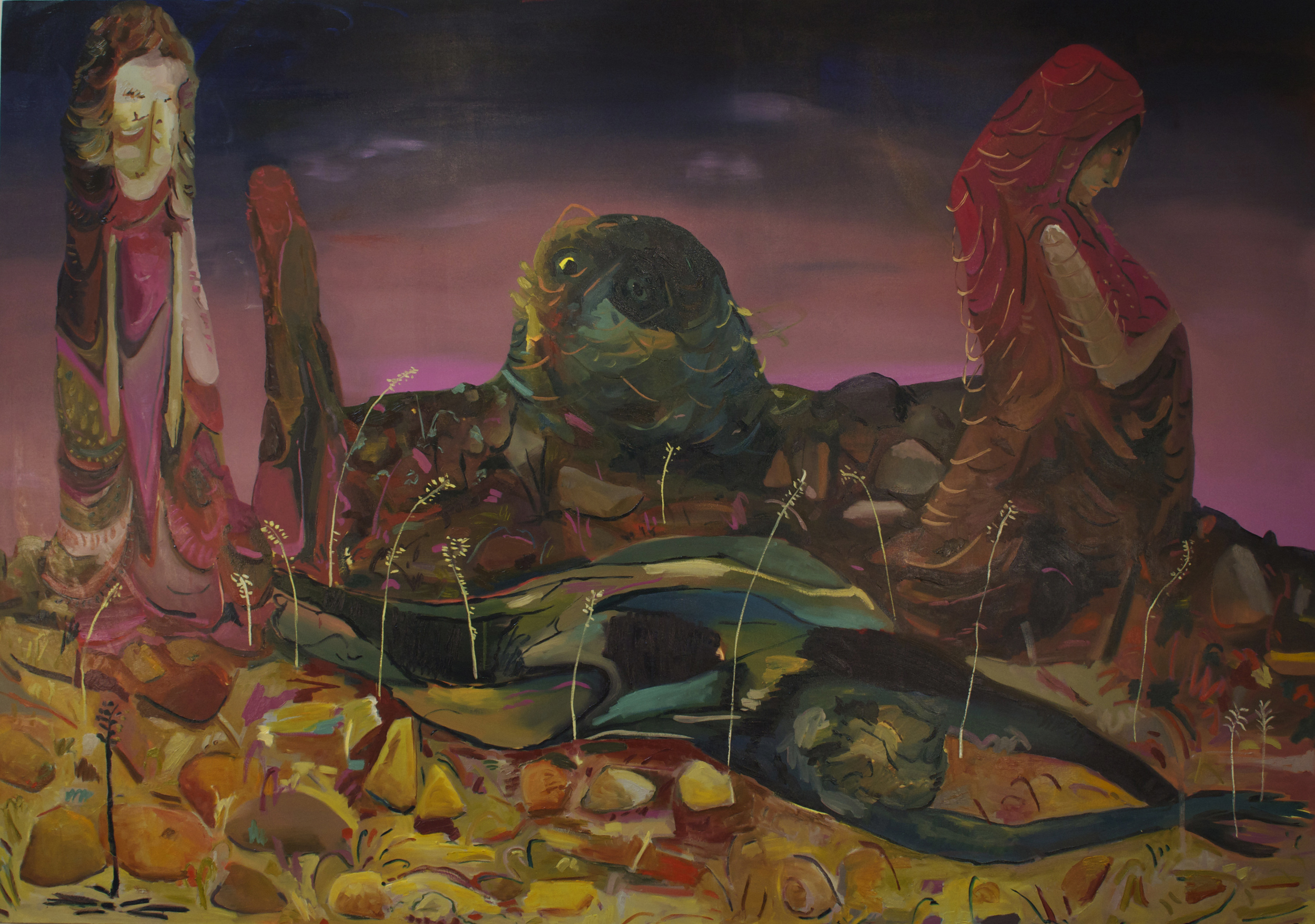 Giant Rock, oil on canvas, 120x84 inches.