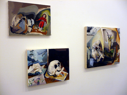Installation view of  Paintings  with Cyril Kuhn and Judith Linhares at Jancar Gallery, 2009.