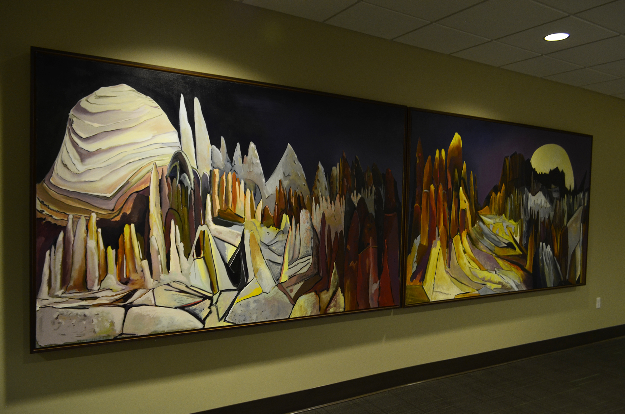 Installation view of Wheeler Geological Area, a public art commission installed in Richardson Hall, Adam State University, Alamosa, CO.