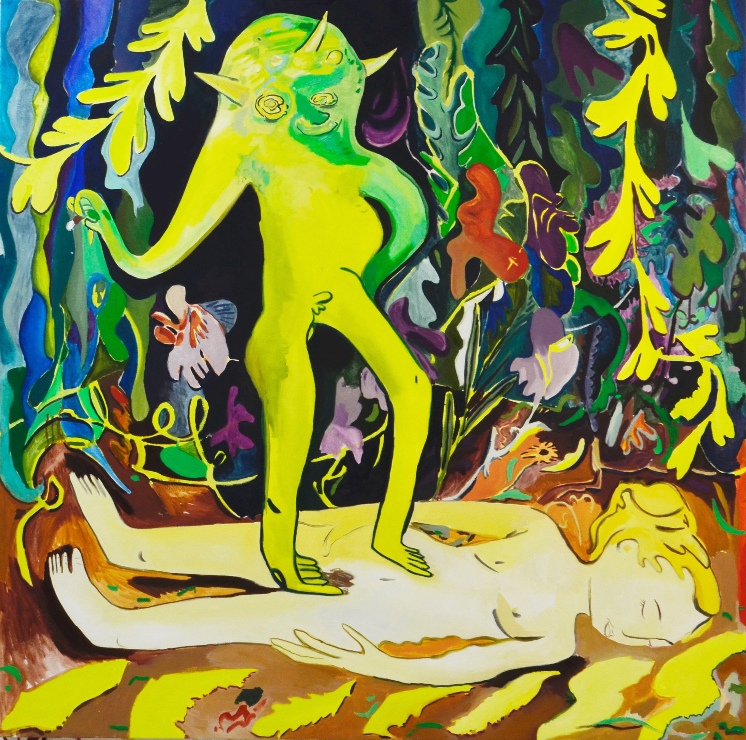 Frog Man, oil on canvas, 53 x 54 inches, 2017.
