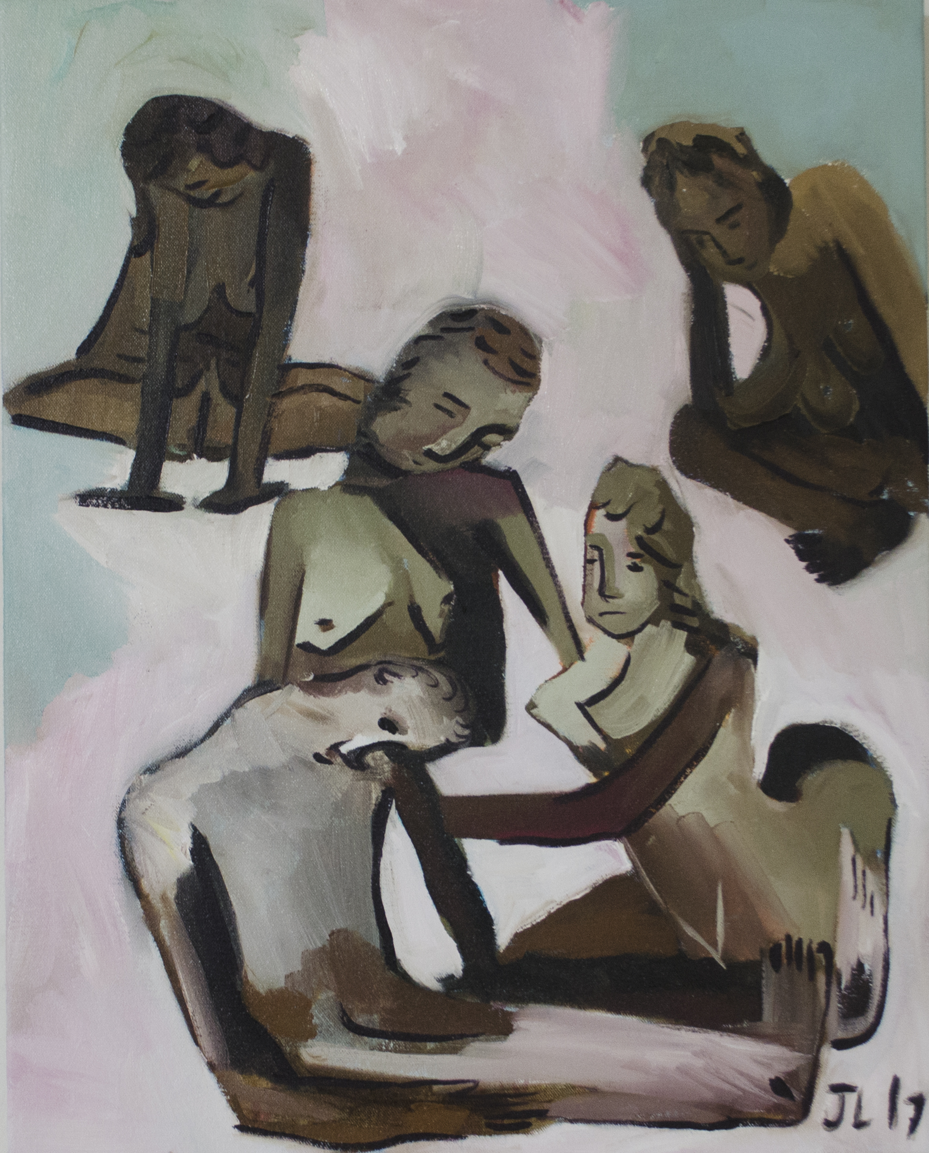 Five Figures, 12 x 14 inches, oil on canvas, 2017.