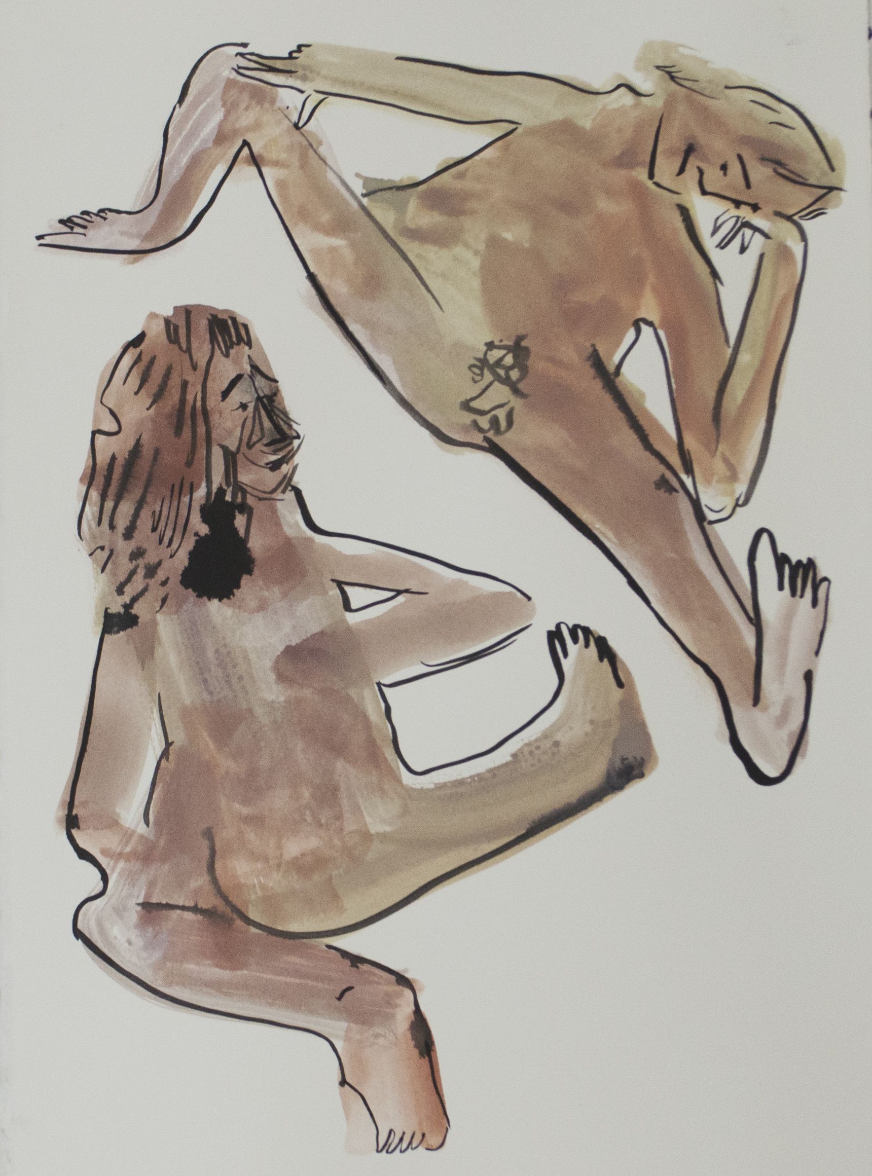 Two Pink Figures, 11 x 15 inches, watercolor and ink on paper, 2017.