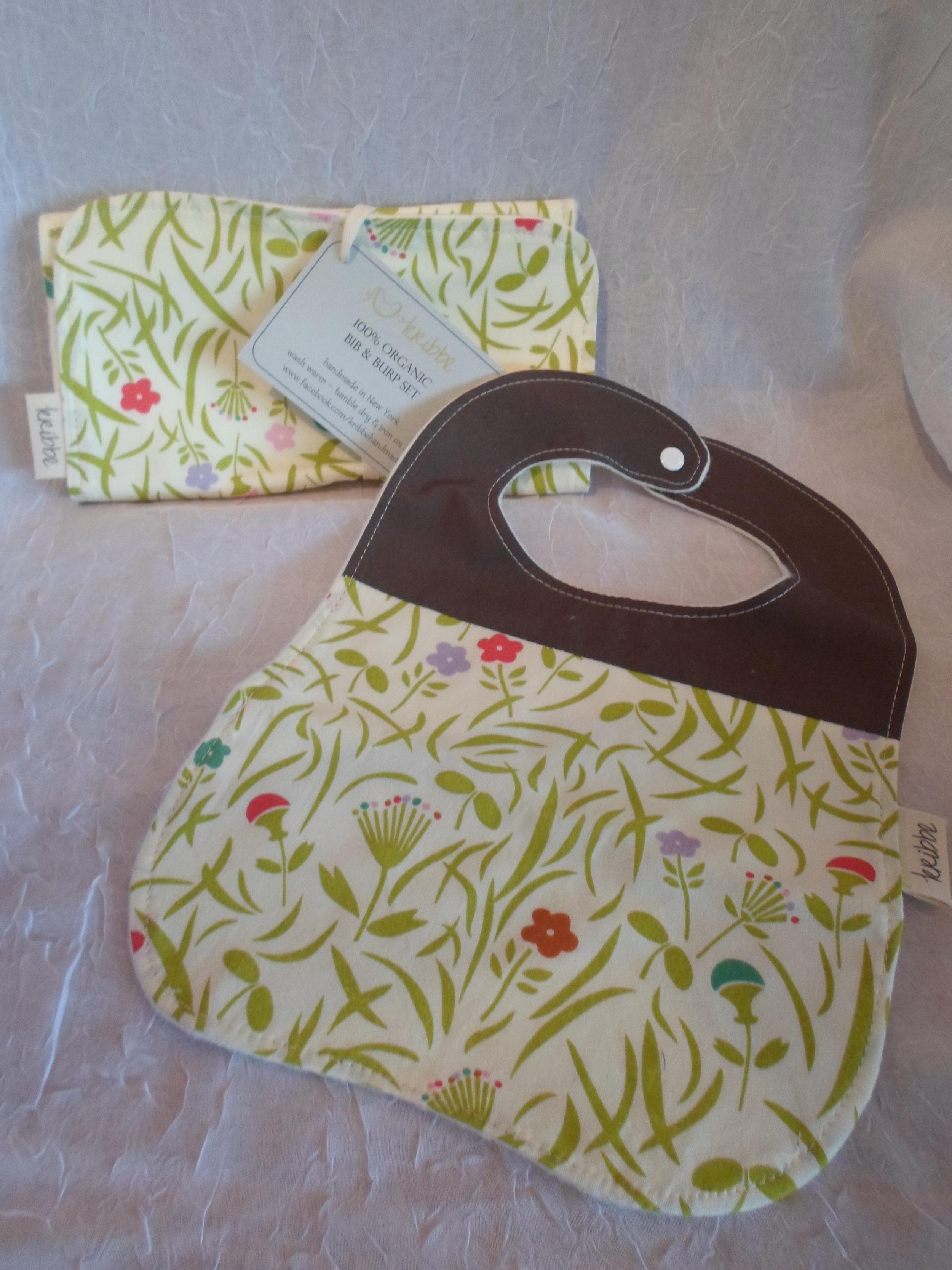 Kribbe Organic Cotton Bib & Burp set (your choice fabric)  Locally Handmade   $27.00    Wants 1 PURCHASED