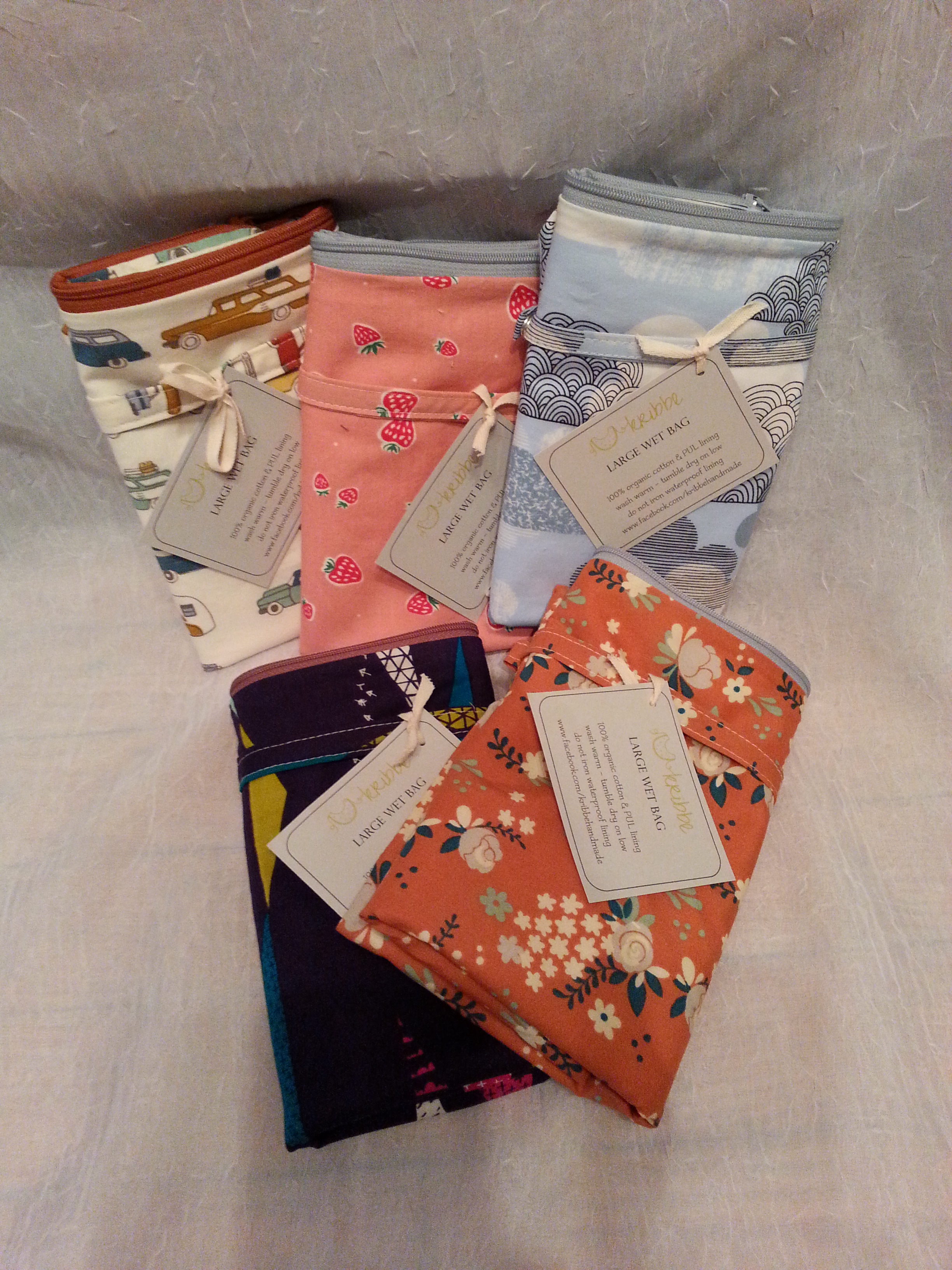 Kribbe Organic Cotton and Fully Lined Small Wet Bag (your choice fabric)  Locally Handmade   $18.00    Wants 1