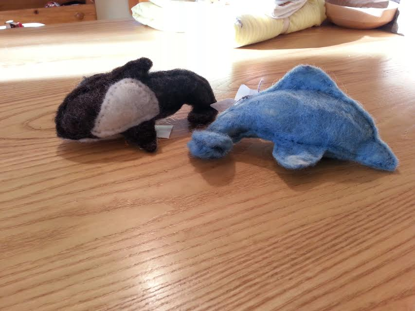 Flowering Heart Farm Wool Felted Dolphin or Whale -  Locally Handmade   $25.00 ea    Wants 1