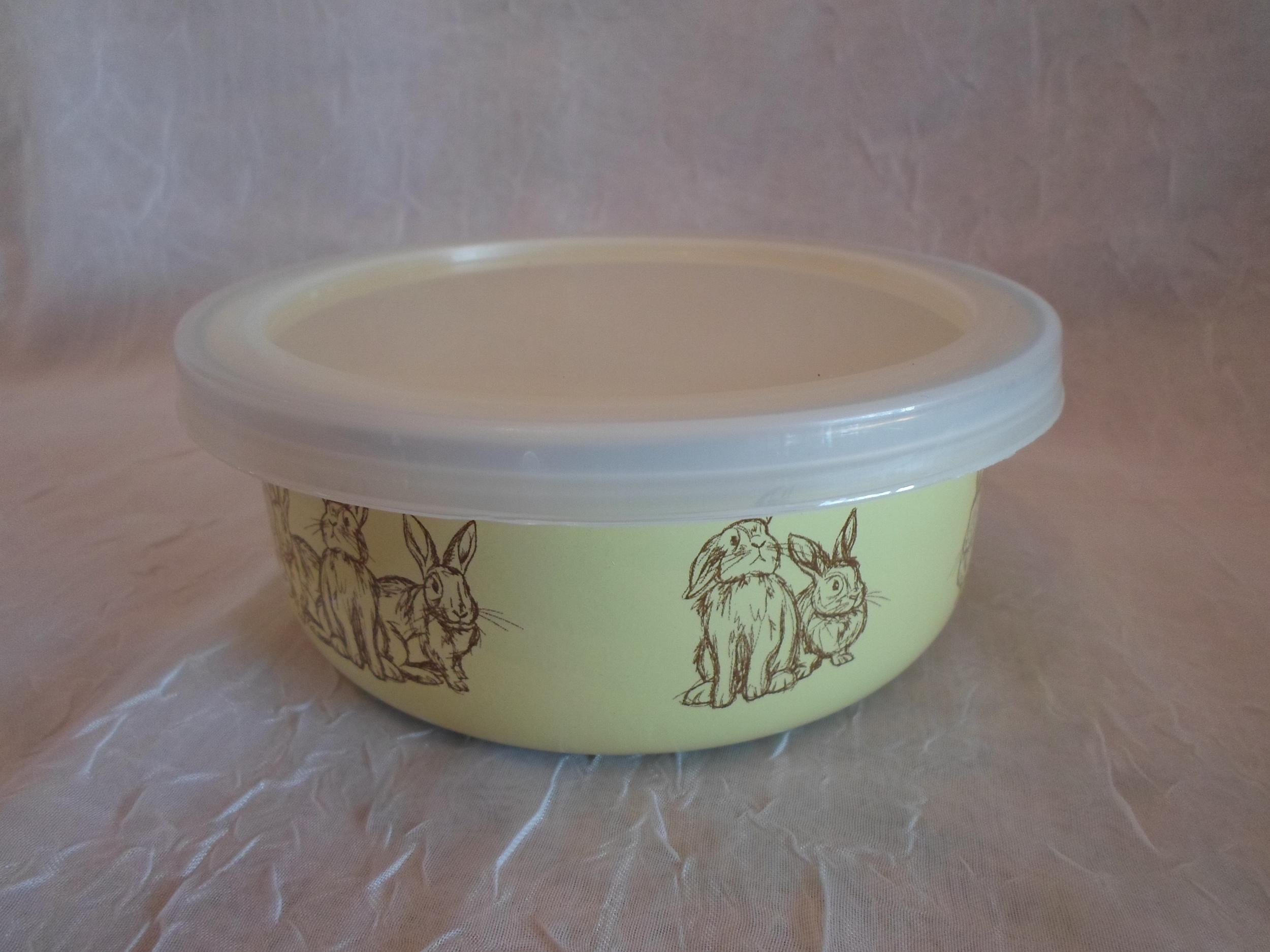 Golden Rabbit Enamelware Yellow Bunny Baby Bowl w/Lid    $9.95    Wants 1  purchased