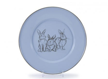 Golden Rabbit Enamelware Plate in Blue Bunnies    $12.95    Wants 1  purchased