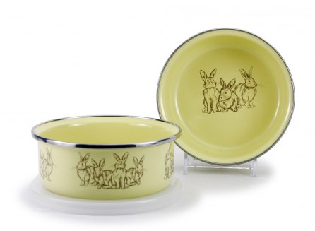 Golden Rabbit Enamelware Bowl with Lid in Yellow Bunnies    $9.95    Wants 1