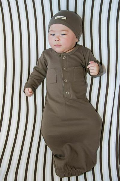 L'ovedbaby   Organic Gown in Bark size 0-3m    (cap sold separately)   $25.95     Wants 1   purchased