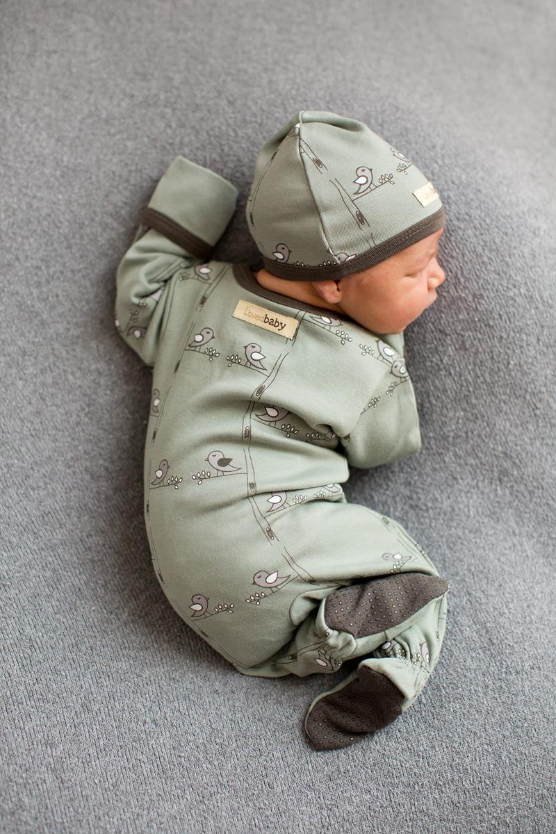 L'ovedbaby   Organic Footie in Seafoam Birds size 3-6m    (cap sold separately)   $22.95    Wants 1  purchased
