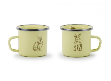 Golden Rabbit Enamelware Baby Mug in Blue OR Yellow    $9.95    Wants 1  purchased