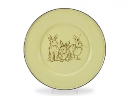 Golden Rabbit Enamelware Plate in Blue OR Yellow    $12.95    Wants 1  purchased