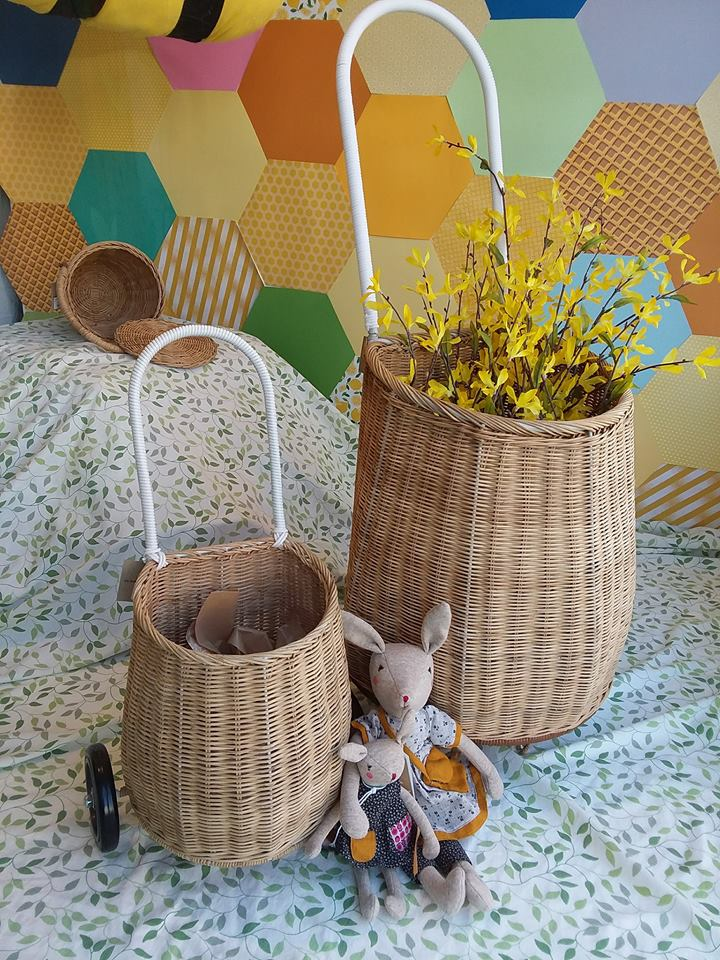 Luggy carts for you and your mini-me by Olli Ella. Mama and little bunny by Moulin Roty