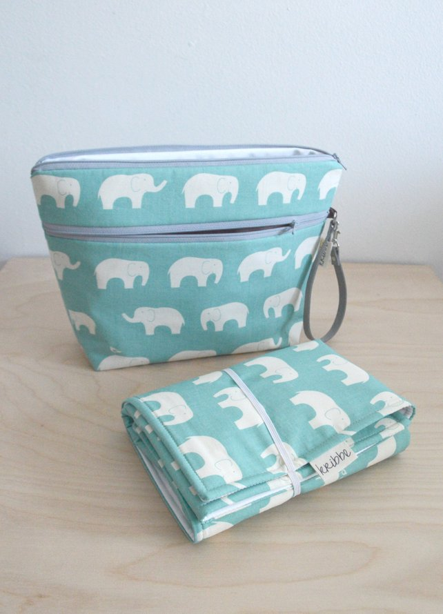 Kribbe Organic Diaper Pouch and Changing Pad Set in grey Elephants  (shown in teal elephants)  Locally Handmade   $57.95    Wants 1