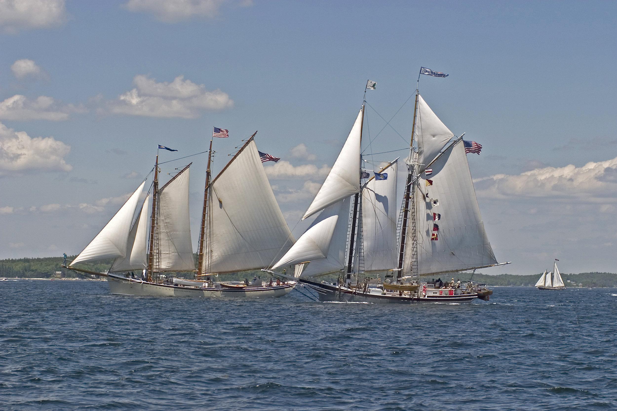 June: Windjammers off Boothbay Harbor