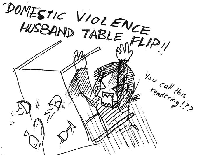 Domestic Violent Art Student Table Flip