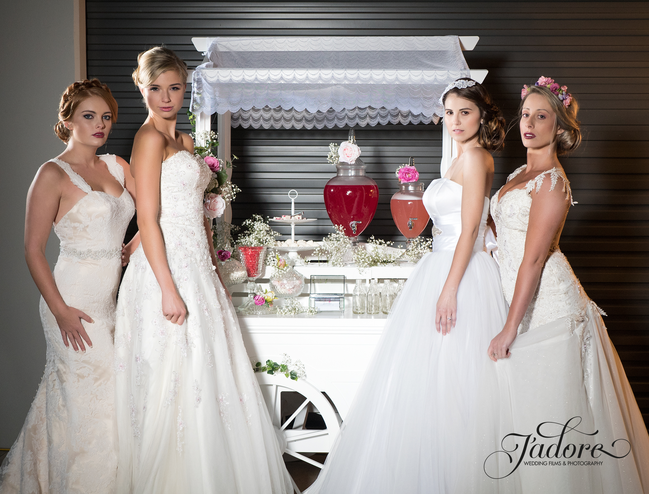 Kate, Tanja, Emily and Alana in front of the  Lush Lolly Bar  in their  House of Serendpity Gowns