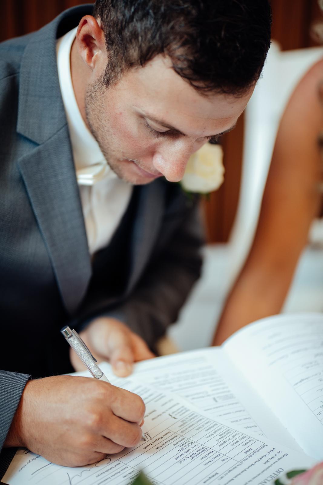 Rhiney writting his Vows