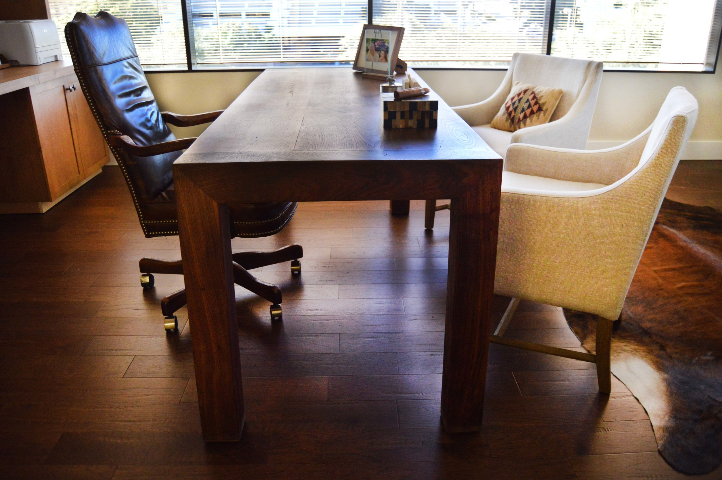 Wood Desk with Accent Chairs - Abode Interior Design