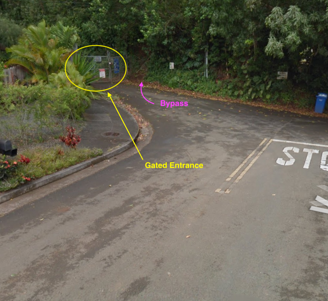 Fig 1. Gated entrance to purple road.  Google pin.
