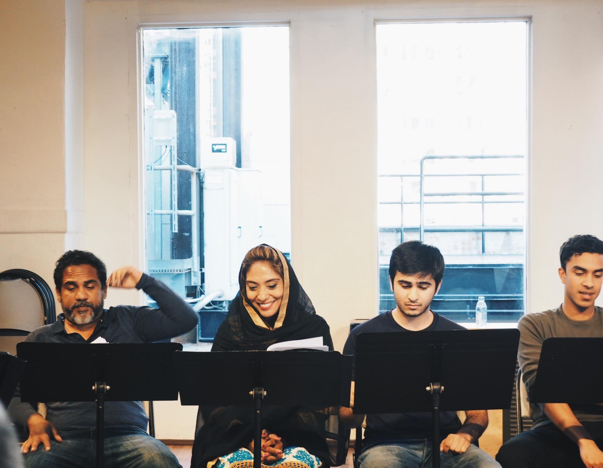"From left: Rahoul Roy as ""Kabir"", Nikki Chawla as ""Fatema"", Rishi Mutalik as ""Yusuf"" and, Anish Roy as ""Saleem"""