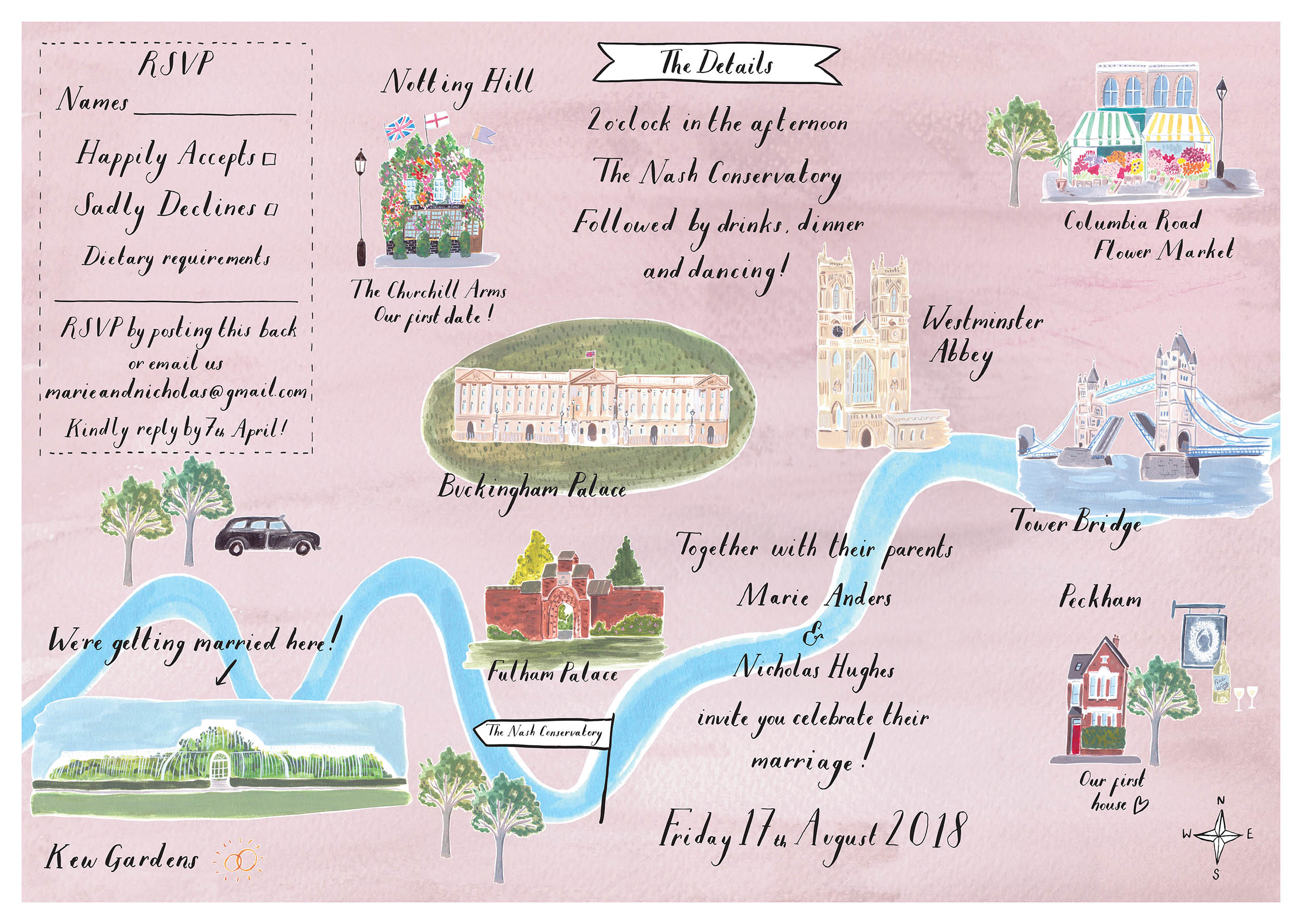 Marie and Nicholas - Bespoke Illustrated A2 Invitation