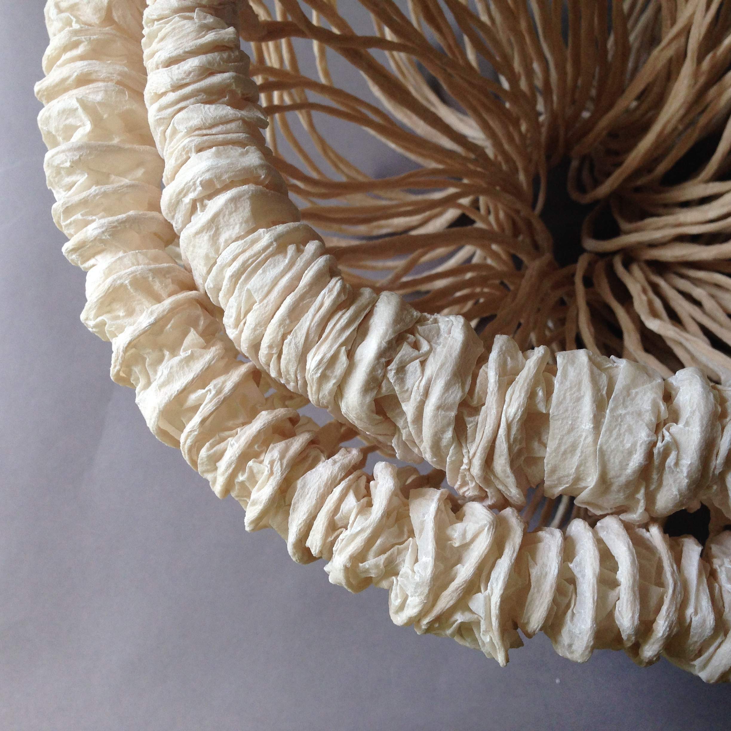 """September White""   artist-made abaca paper  and multiple manipulations by hand."