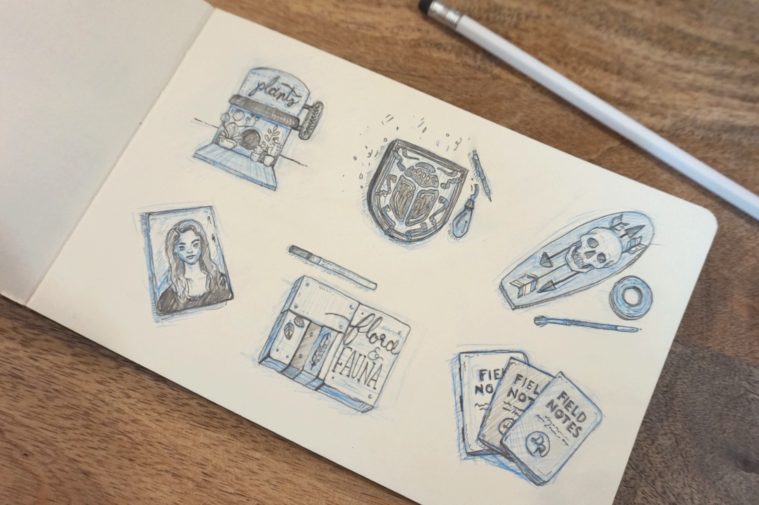 Little sketches of each project I completed (or almost completed) while at Design Ranch