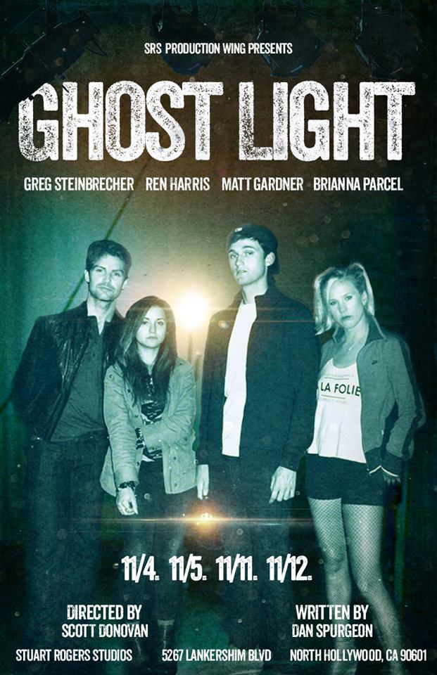Four college students – the Sorority Queen, the Preppy Pothead, the Big Man on Campus, and the Good Girl – break into a campus theatre on Halloween. But this space has been rumored to be haunted by the ghost of a student who died exactly twenty-five years ago. A fun story on a dark and rainy night? Or a warning of things to come?    When the lights go out and the ghost light illuminates the stage, come find out what is really going on in the theatre that people don't visit at night for a reason....    Featuring:   Matt Gardner   Ren Harris   Brianna Parcel   Greg Steinbrecher    Written by Dan Spurgeon  Directed by Scott Donovan  Show Dates: 11/4. 11/5/, 11/11, 11/12  Reserve your seat at:  http://www.brownpapertickets.com/event/2708829
