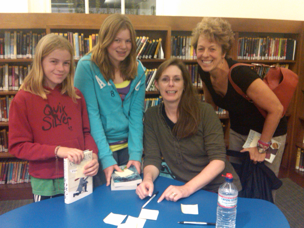 The girls, Laurie Halse Anderson, and me. Thanks  Deborah Sloan  for taking the picture!