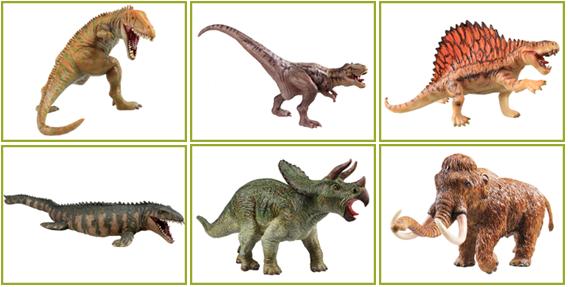 Recur Carcharodontosaurus, Majungatholus, Dimetrodon, Mosasaurus, Sterrholophus, and Mammuthus primigenius