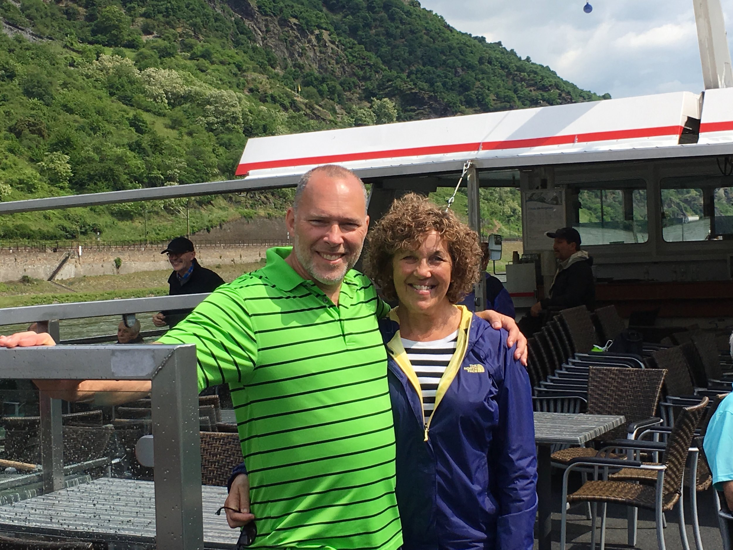 So, our cruise on the Rhine ended at the dock in front of the town of Bacharach and we were back in the beautiful town we called home for two days.  Then it was time to be off for our evening meal with a dozen of our new friends!