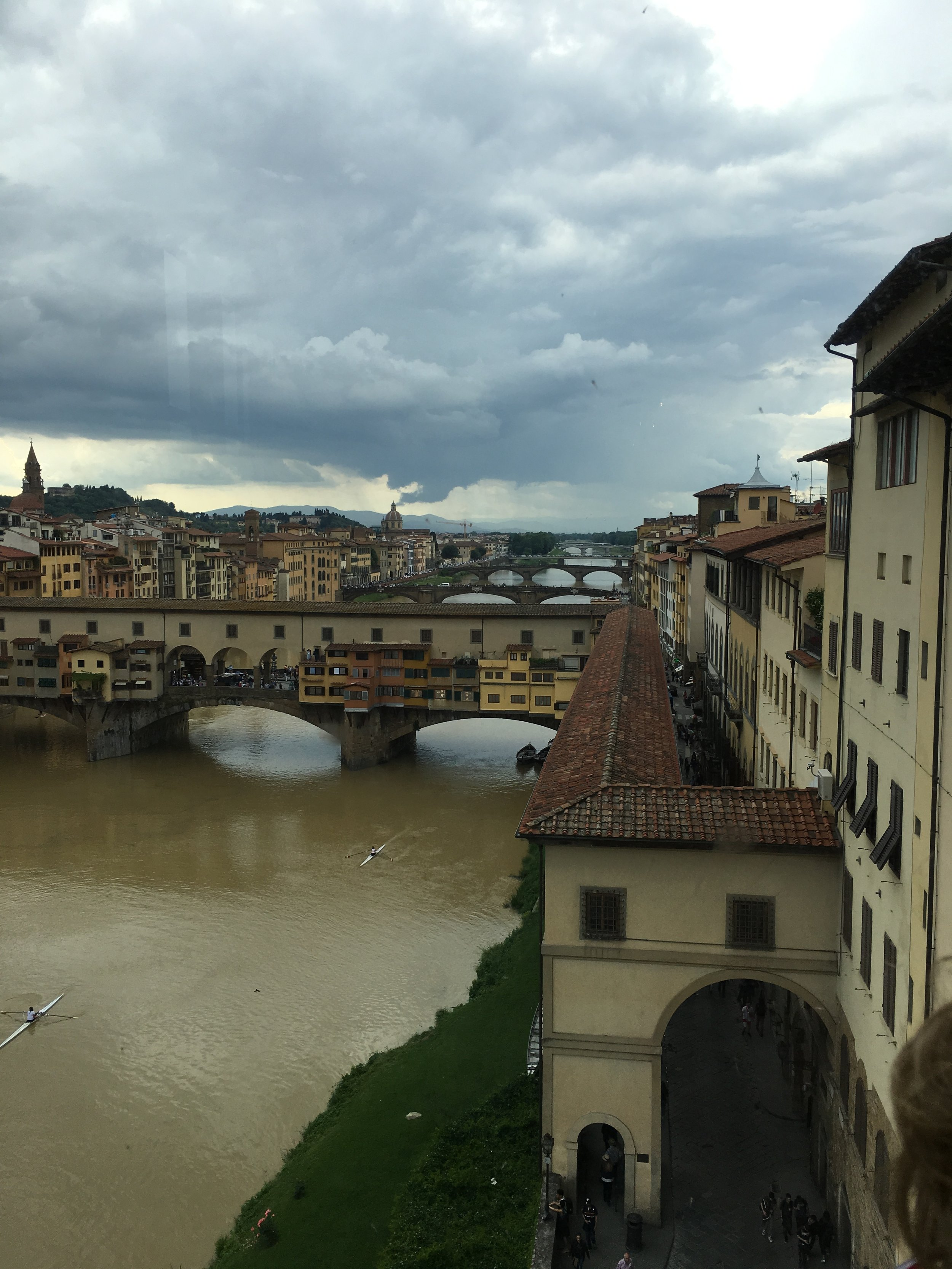 Below is a view of one side of the Palazzo Vecchio from the Uffizi.