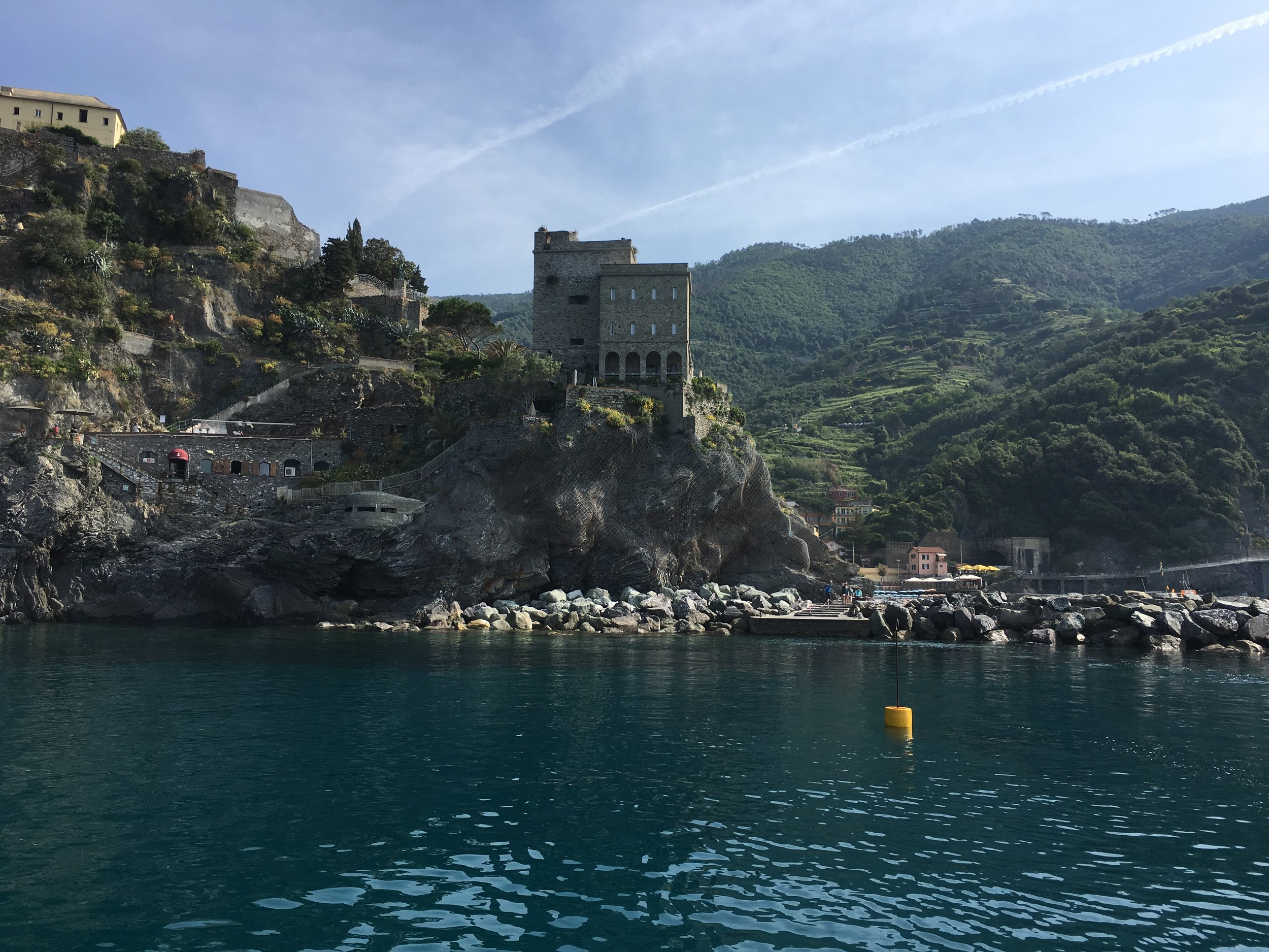 The towns of the Cinque Terre are nestled in valleys, on the hills around the valley all the way down to the Mediterranan Sea.