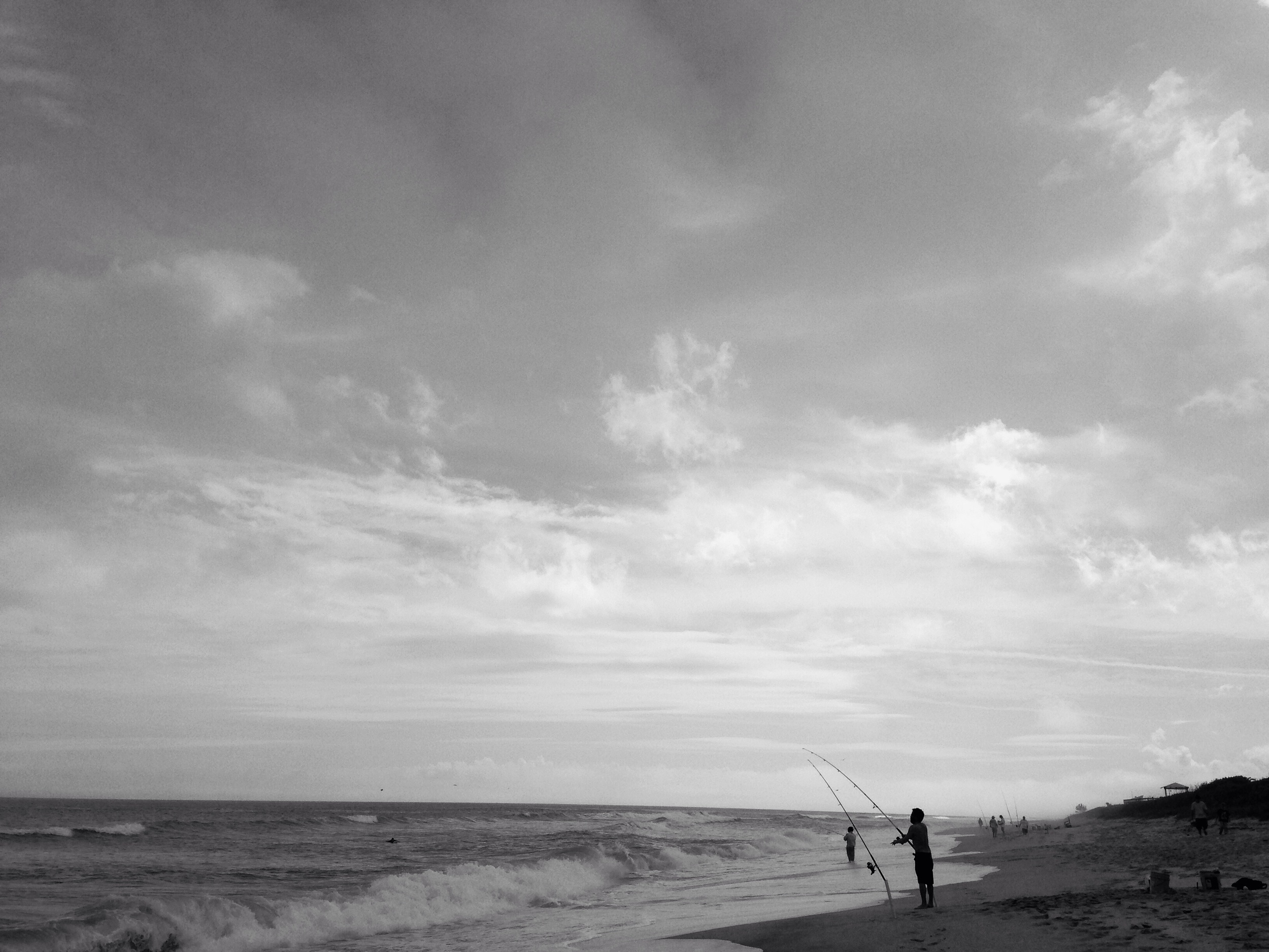 fisherman stacked the beach. I shot some photos of shore break and had to dodge the lines.