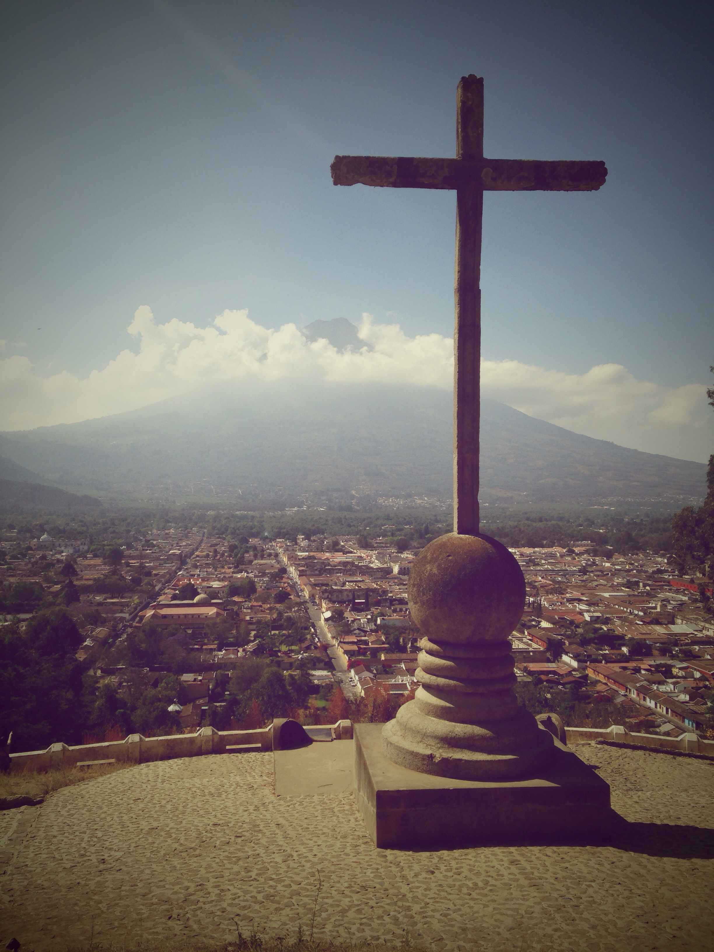 This is the cross that over looks the city of Antigua, Guatemala. Beautiful view.