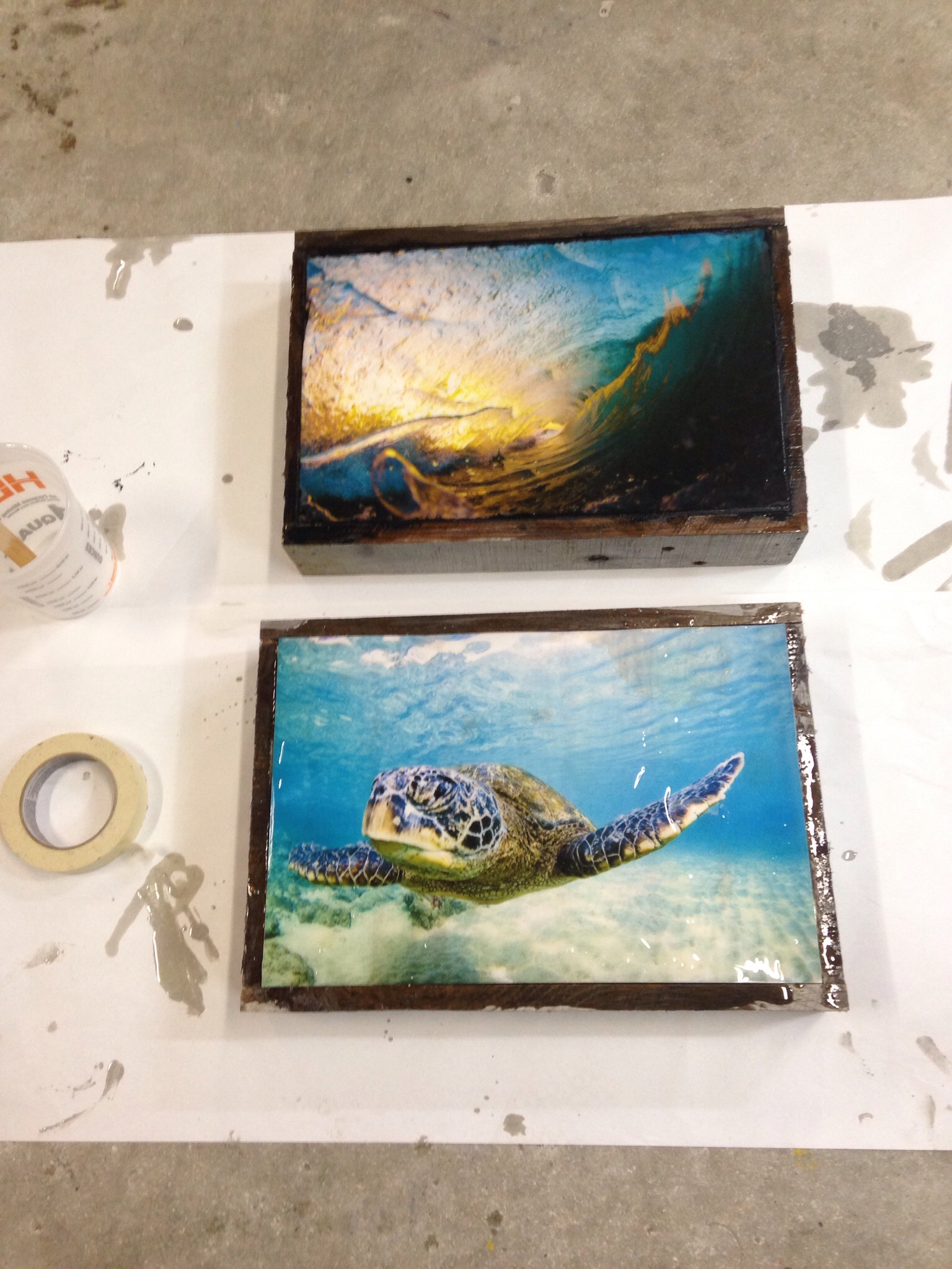 Resin coated and drying. The turtles is 100% ruined but the barrels may just make it. If so, it won't be for sale!! First's are the keepers!