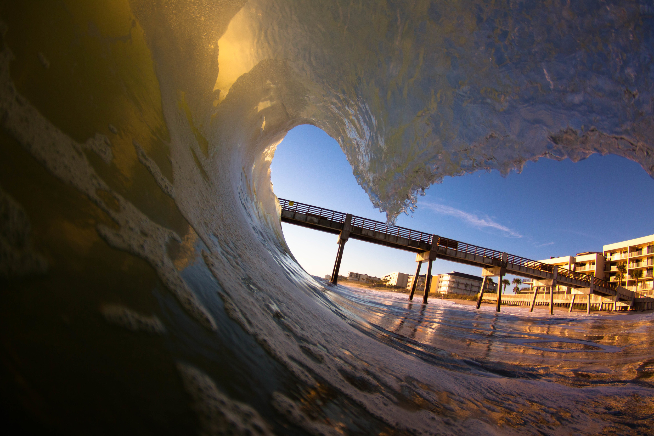 One more from the above day. Sometimes these insiders get that foam on the face of the wave and I really like it. I'd give it a thumbs up if I could. Anyways, love the pier angle on this shot too! That was a great morning.