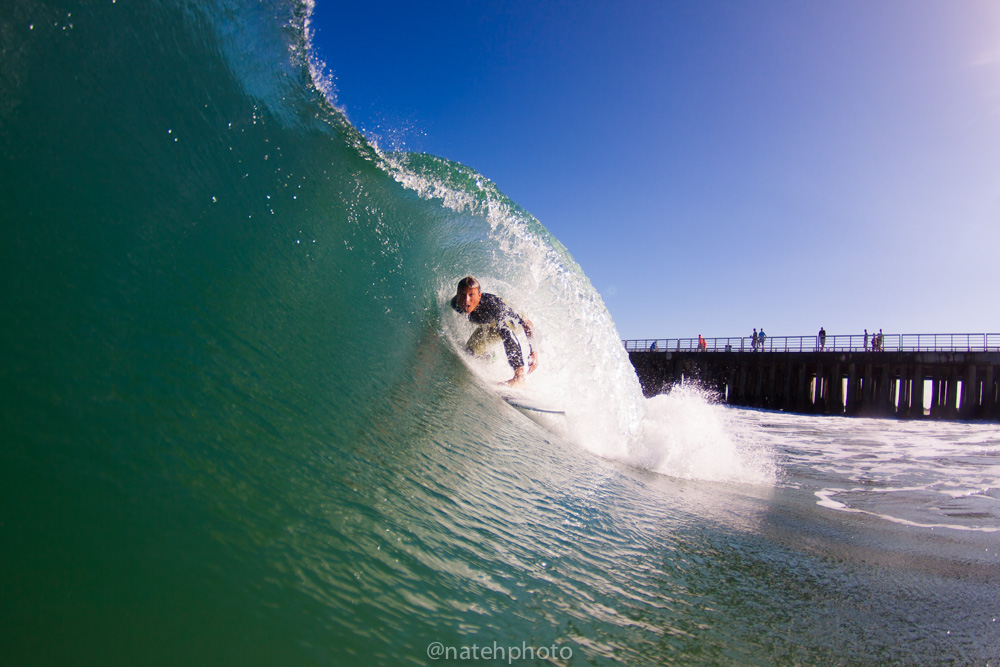 Chauncey finding that rare high tide barrel andmaking it happen!