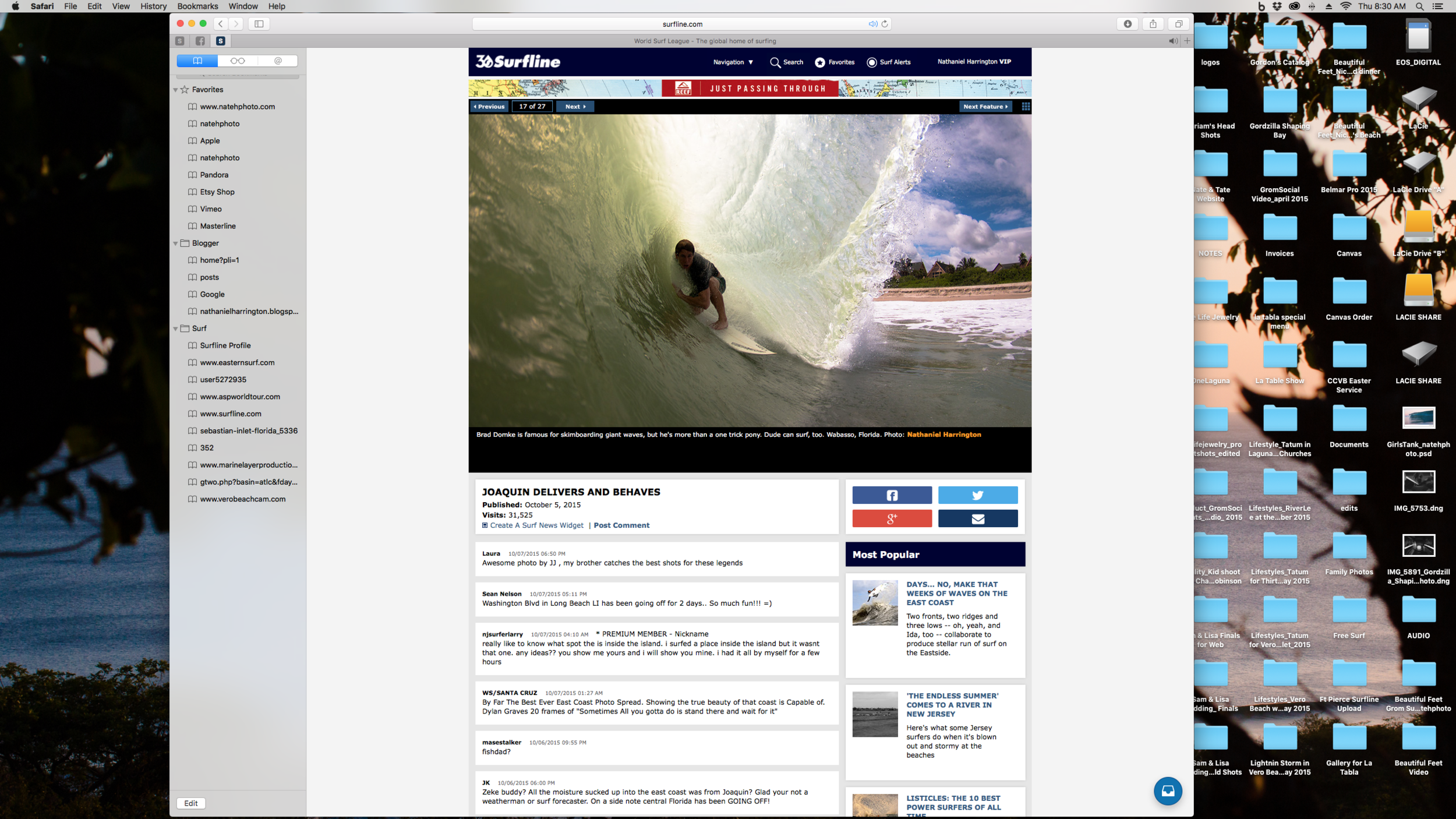 "Brad Domke on Surfline.com. Featured under ""Joaquin Delivers and Behaves"""
