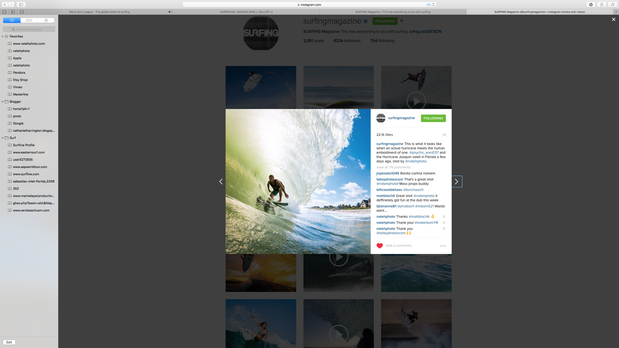 One image of Chris Ward was used as a Surfing Magazine Instagram post. Considering they have almost a million followers this is really good media! This photo has received over 22,000 likes.