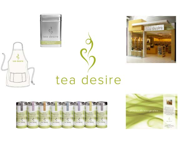 Tea Desire    Tea can calm you with infusions of fruit, herbs and flowers, or invigorate you with black blends from Ceylon. Even the act of making a cup of tea can be a sensual experience. These were some of the feelings I was asked to evoke with the branding of Tea Desire. The campaign included logo, packaging, ads, in-store merchandising, uniforms and overseeing the design of the flagship store to maintain the brand integrity.